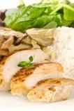 Chicken with creamy mushroom sauce Stock Photo