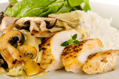 Chicken with creamy mushroom sauce Royalty Free Stock Images