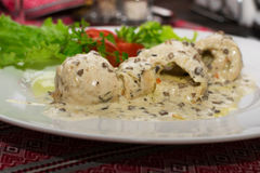 Chicken in creamy and mushroom sauce Royalty Free Stock Photo