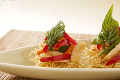 Chicken On Crispy Noodles Stock Photography
