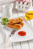 Chicken croquettes with cheese on a white background Royalty Free Stock Image