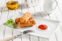 Chicken croquettes with cheese on a white background Royalty Free Stock Photos