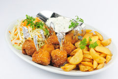 Chicken croquettes with fries  Stock Image