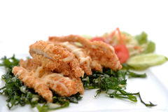 Chicken crumbed breast with cream Royalty Free Stock Images