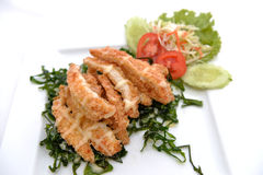 Chicken crumbed breast with cream Stock Photo