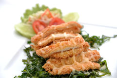 Chicken crumbed breast with cream Stock Image