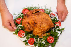 Chicken with a crust on a plate. Decorated with vegetables Stock Photography