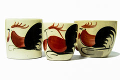 3 chicken cup. 3 cartoon chicken glass (red and black chick Stock Images