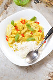 Chicken curry with basmati rice and chili Royalty Free Stock Photos