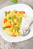 Chicken curry with basmati rice and chili Stock Photos