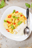 Chicken curry with basmati rice and chili Stock Photo