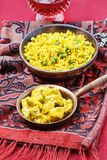 Chicken curry with basmati rice and green peas Royalty Free Stock Image