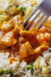Chicken curry with basmati rice and green peas Stock Photography