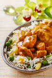 Chicken curry with basmati rice and green peas Royalty Free Stock Photos
