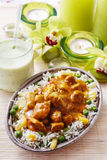 Chicken curry with basmati rice and green peas Royalty Free Stock Images