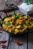 Chicken biryani and rice. Chicken curry biryani indian style food with veggies Royalty Free Stock Photos