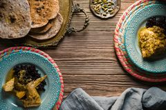 Chicken curry with black rice, serving. Indian food Stock Photos