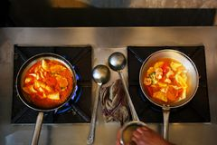 Chicken curry on black stone background with copy space. Top view, flat lay royalty free stock photography
