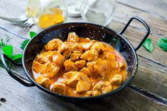 Chicken curry on bowl stock images
