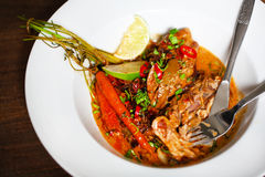 Chicken curry with carrots, lime and coconut Royalty Free Stock Photography