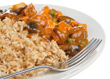 Chicken Curry & Fried Rice. Chinese chicken curry with egg fried rice Royalty Free Stock Images