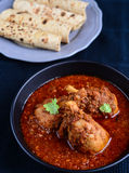 Chicken Curry with Indian bread Stock Photo