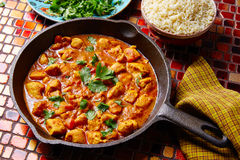 Chicken curry indian recipe basmati rice Royalty Free Stock Photo