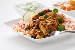Chicken curry meal Stock Images
