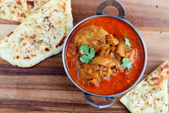 Chicken Curry with naan Stock Image
