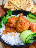 Chicken Curry with naan and rice Royalty Free Stock Photo