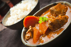 Chicken curry and rice. Spicy indian chicken curry and rice on a table Stock Image