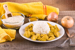 Chicken curry with rice Caribbean. Royalty Free Stock Image