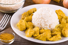 Chicken curry with rice Caribbean. Stock Photos