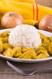 Chicken curry with rice Caribbean. Stock Photo