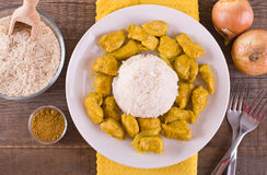 Chicken curry with rice Caribbean. Royalty Free Stock Photos