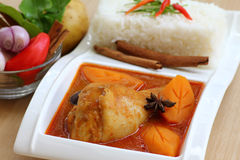 Chicken curry with rice and chopsticks Royalty Free Stock Images