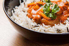 Chicken curry with rice. Chicken curry with wild rice royalty free stock photo