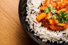 Chicken curry with rice. Chicken curry with wild rice royalty free stock photography