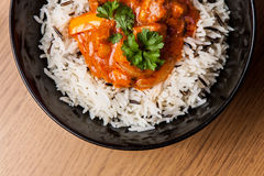 Chicken curry with rice. Chicken curry with wild rice royalty free stock image