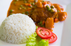 Chicken Curry served. With rice royalty free stock photos