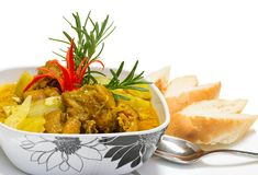Chicken Curry Serving With Breads Isolated Royalty Free Stock Images