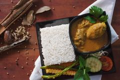 Chicken curry with vegetable, herb and spices on a wooden table royalty free stock image