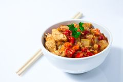 Chicken curry on bowl. Chicken curry with vegetables on white bowl Stock Photos