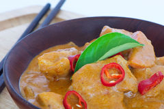 Chicken Curry on a wooden bowl Royalty Free Stock Images
