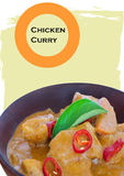 Chicken Curry on a wooden bowl Stock Images