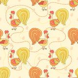 Chicken cute pattern. Seamless background with rooster. Cartoon pattern. Royalty Free Stock Image