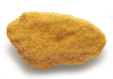 Chicken cutlet breaded. Single Chicken cutlet breaded isolated on white background Stock Photo
