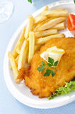 Chicken cutlet with chips, closeup Stock Photography