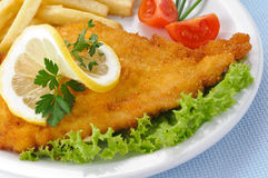 Chicken cutlet with chips and tomato Stock Images