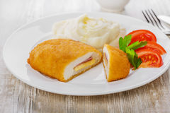 Chicken cutlet cordon bleu   Stock Photo